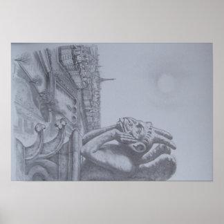 Notre Dame Gargoyle Sketch Poster