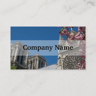 Notre Dame In Paris France With Spring Flowers Business Card