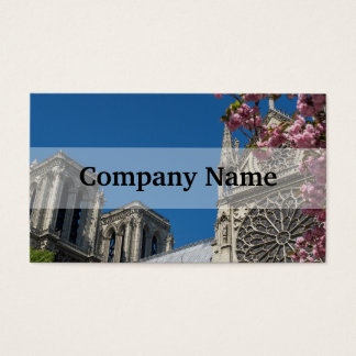 Notre Dame in Paris, France with Spring Flowers Business Card