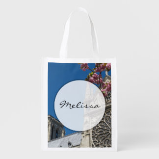 Notre Dame in Paris, France with Spring Flowers Market Tote