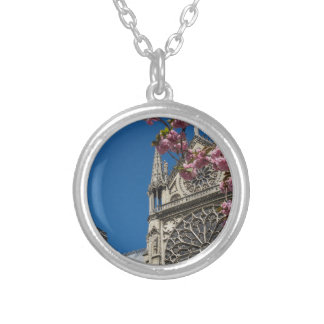 Notre Dame in Paris, France with Spring Flowers Round Pendant Necklace