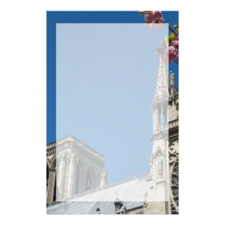 Notre Dame in Paris, France with Spring Flowers Stationery