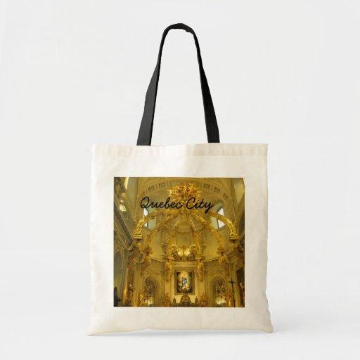 Notre Dame la ciudad de Quebec Canadá Bolsas Lienzo