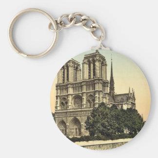 Notre Dame, obra clásica Photochrom de París, Llavero Redondo Tipo Pin