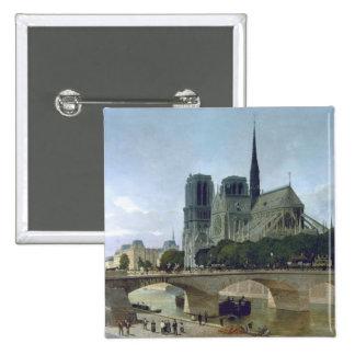 Notre Dame, París, 1884 Pin Cuadrada 5 Cm