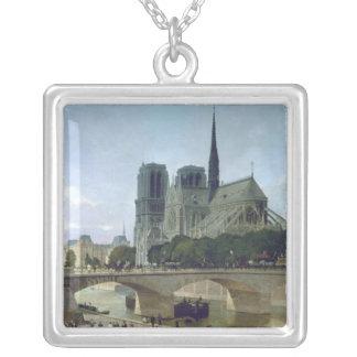 Notre Dame, Paris, 1884 Square Pendant Necklace