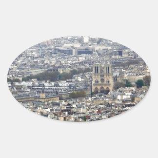 Notre Dame Paris France Oval Sticker