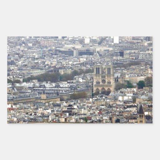 Notre Dame París Francia Pegatina Rectangular