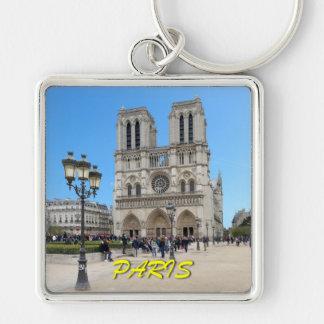 Notre Dame PARÍS Llavero Cuadrado Plateado