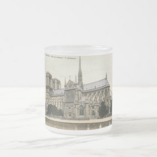 Notre Dame, Paris Vintage 10 Oz Frosted Glass Coffee Mug