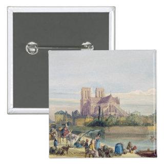Notre Dame, París (w/c en el papel) Pin Cuadrada 5 Cm