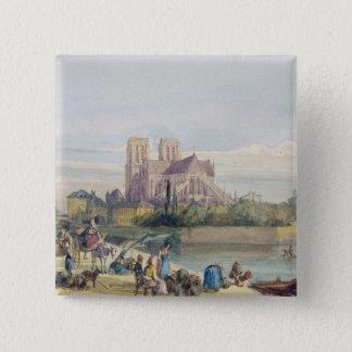 Notre Dame, Paris (w/c on paper) Pinback Button
