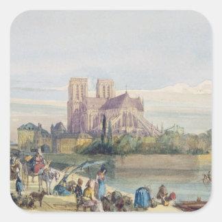 Notre Dame, Paris (w/c on paper) Square Sticker