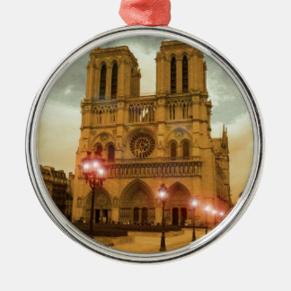 Notre Dame Round Metal Christmas Ornament