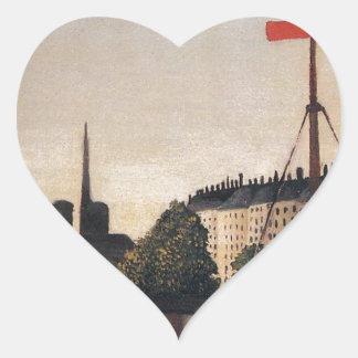 Notre Dame View of the Ile Saint Louis Heart Sticker