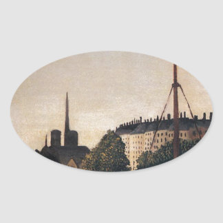 Notre Dame View of the Ile Saint Louis Oval Sticker