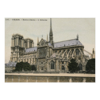 Notre Dame, vintage de París Poster