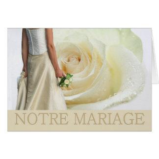 Notre Mariage French White rose wedding invitation