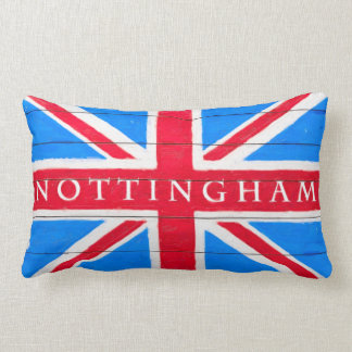 Nottingham - bandera británica de Union Jack del v Cojin
