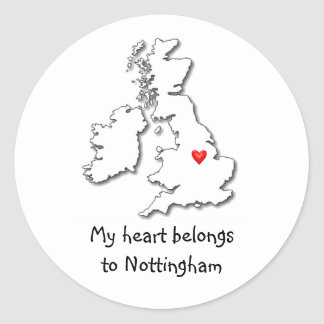 Nottingham my heart belongs classic round sticker