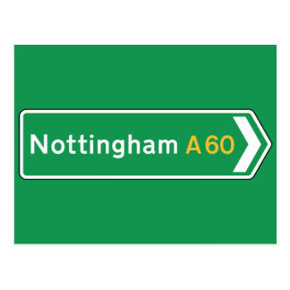 Nottingham, UK Road Sign Postcard