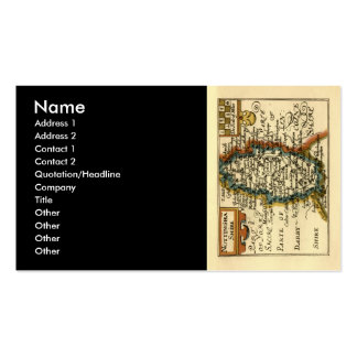 Nottinghamshire County Map, England Double-Sided Standard Business Cards (Pack Of 100)