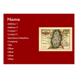 Nottinghamshire County Map, England Large Business Cards (Pack Of 100)
