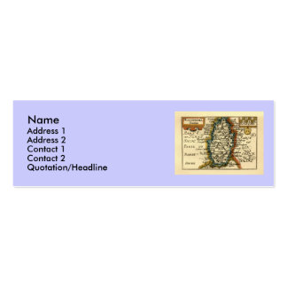 Nottinghamshire County Map, England Mini Business Card