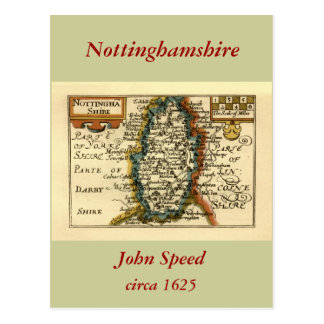 Nottinghamshire County Map England Post Cards