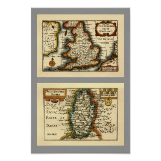 Nottinghamshire County Map, England Poster