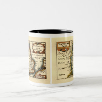 Nottinghamshire County Map, England Two-Tone Coffee Mug