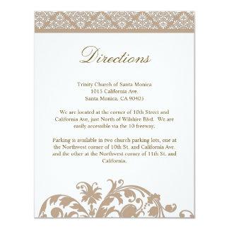 Nougat Damask Wedding Direction Card Invitation
