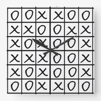 Noughts and Crosses - Oxo Square Wall Clock