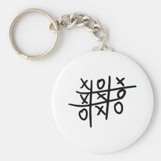 noughts and crosses - tic tac toe basic round button keychain