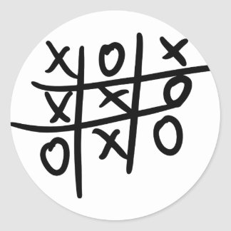 noughts and crosses - tic tac toe round sticker