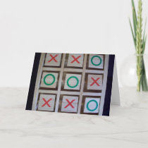 Noughts and Crosses Wooden Game Card