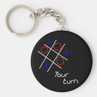 Noughts & Crosses (Tic-tac-toe) Basic Round Button Keychain