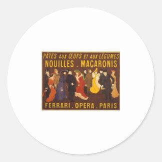 Nouilles, macarrones. Ferrari, Opéra, París Etiqueta Redonda