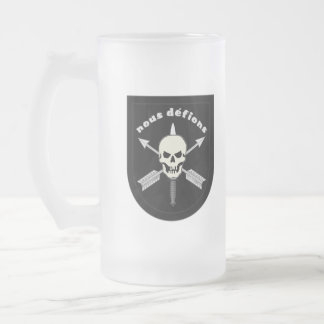 nous defions frosted glass beer mug