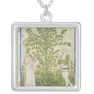 Nouv Acq Lat Celery, from 'Tacuinum Sanitatis' Silver Plated Necklace