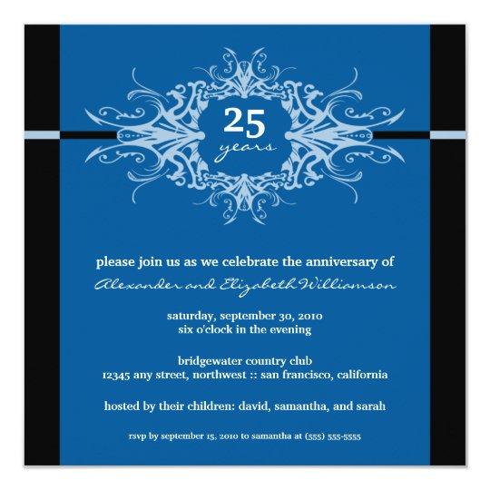Nouveau Anniversary Party Invitation (blue)