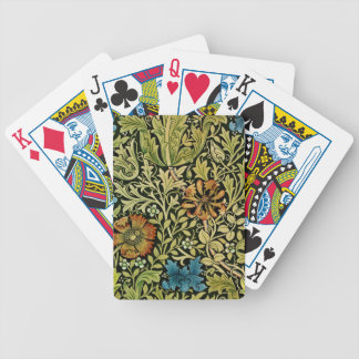 Nouveau Blue and Orange Flowers on Vine Bicycle Playing Cards