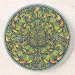 Nouveau Botanical Abstract Round Coaster