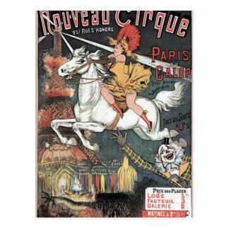 Nouveau Cirque Revuew Hippique Retro Theater Postcard