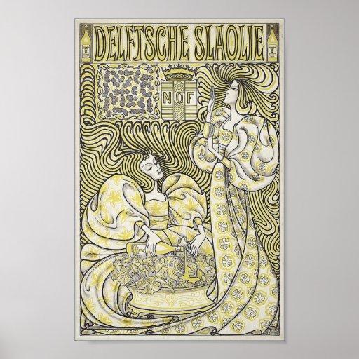 Nouveau del arte de Delftsche Slaolie Poster
