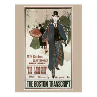 Nouveau del arte del vintage su anuncio del libro postal