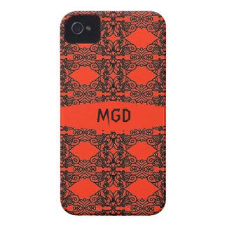 Nouveau del arte en cordón negro con el monograma iPhone 4 Case-Mate cárcasa