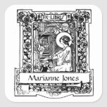"""Nouveau Ex-Libris Bookplate Stickers<br><div class=""""desc"""">These stickers feature an illustration from the late 19th c. in the Art Nouveau style. Each says &quot;Ex-Libris&quot; (from the books of&quot;) and has a space below for your name. To add your name, simply type over &quot;Marianne Jones&quot; in the box where it says &quot;personalize it&quot;. If you prefer to...</div>"""