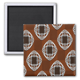 Nouveau Eye Checkerboard Brown 2 Inch Square Magnet