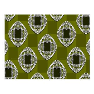 Nouveau Eye Checkerboard Olive Postcard